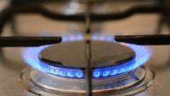 Closeup of the fire on the kitchen stove Stock Footage