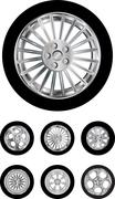 Car wheels Stock Illustration