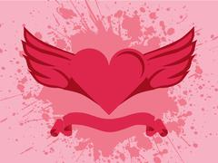 Stock Illustration of Heart and wings