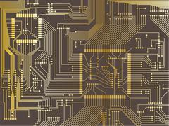 Gold Printed circuit board Stock Illustration