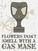 Flowers don't smell witha gas mask - stock illustration