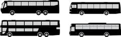 Bus silhouettes - stock illustration