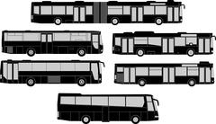 Bus silhouettes Stock Illustration