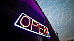Open Sign Blinking Lights Flashing Neon Evening Convenience Store Night Dawn - stock footage