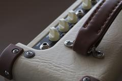 Guitar amplifier close-up Stock Photos