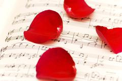 Red rose petals on musical notes page - stock photo