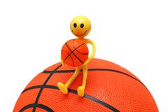 Smilie with basketball isolated on the white Stock Photos