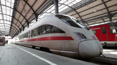 Leaving ICE highspeed train - stock footage