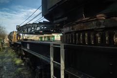 vintage old train locomotive crane equipment - stock photo