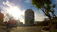 Stock Video Footage of Wide Shot Capitol Records Building With Sun Flare- Los Angeles CA