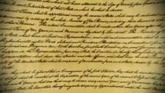 Calligraphy handwriting on old vintage paper Stock Footage