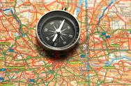 Stock Photo of Compass over the map of UK  - London suburbs
