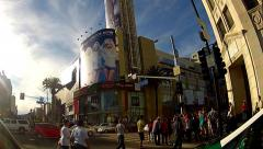 Stock Video Footage of Hollywood Boulevard Intersection With Tourists Outside The Dolby Theater