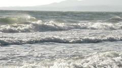 Beach mediterranean with rough waves Stock Footage