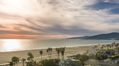Santa Monica Sunset Los Angeles California LA Palm Trees Beach Ocean Beautiful - stock footage