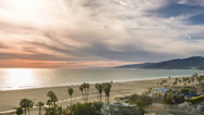 Stock Video Footage of Santa Monica Sunset Los Angeles California LA Palm Trees Beach Ocean Beautiful