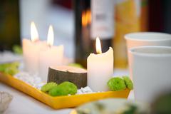 romantic atmosphere with candle - stock photo