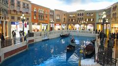 Time Lapse  The Venetian Macau Lagoon Gondola ride China Asia Stock Footage