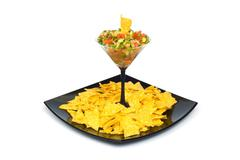 Mexican traditional food - corn chips and salsa Stock Photos