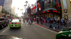 Tourists On Hollywood Walk Of Fame Outside Hard Rock Cafe Stock Footage