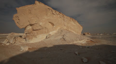 Pan of limestone formations (White Desert, Egypt) Stock Footage
