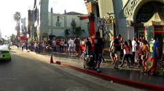 Tourists On Hollywood Blvd Walk Of Fame Outside Grauman's Chinese Theater Stock Footage