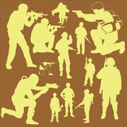 Army silhouettes Stock Illustration