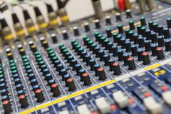 Part of control an audio sound mixer Stock Photos