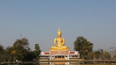Gold buddha statue with reflection - stock footage