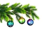 Stock Photo of Christmas decoration on the tree isolated on white