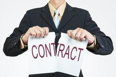 businessman tearing sheet paper, contract management concept - stock photo