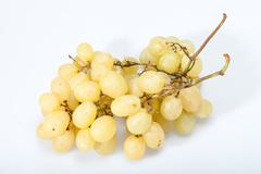 sweet and ripe white grapes isolated on white - stock photo