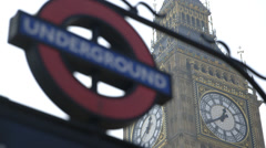 Pull/Rack focus from Big Ben Clock (Elizabeth Tower) to London Underground sign Stock Footage