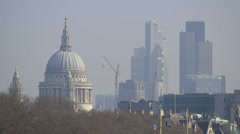 London - St Paul's Cathedral and High rise Office Blocks Stock Footage