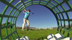 Man Golfing Hitting Driver At Golf Course - stock footage