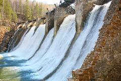 old hydroelectric power station - stock photo