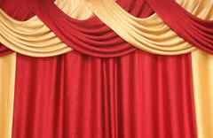 Curtain of red and yellow colour Stock Photos