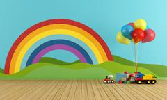 Empty playroom with rainbow and toys Stock Illustration