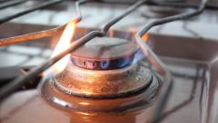 Lighting a Gas Stove (Real Time) Stock Footage