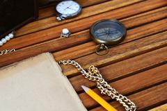 ancient mariner's compass and watch - stock photo