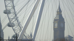 Big Ben (Elizabeth Tower, Clock Tower) and the Millennium Wheel Stock Footage