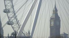 Big Ben (Elizabeth Tower, Clock Tower) and the Millennium Wheel Stock Footage