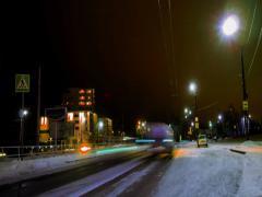 Night liikenne venäläinen kaupunki, Petroskoi, timelapse Arkistovideo