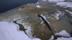 Crack of Onego lake ice, Petrozavodsk Stock Footage