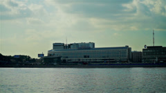 View of Hotel Moscow on the Neva river embankment, Saint Petersburg. Stock Footage