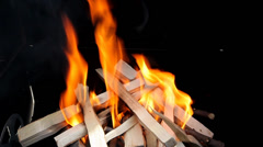 Fire in an barbecue grill - stock footage