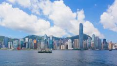 4k timelapse video of Victoria Harbour in Hong Kong in daytime Stock Footage