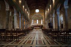 chiusi - the romanesque cathedral  of san secondiano - stock photo