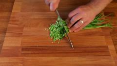 Cutting chives in little pieces Stock Footage