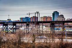 View of the schuylkill expressway and west philadelphia, pennsylvania. Stock Photos